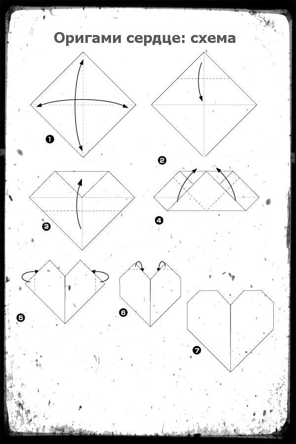 Как из бумаги сделать сердце оригами